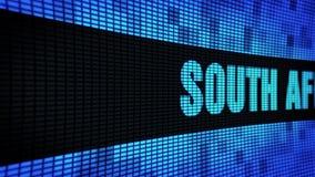 SÜDAFRIKA-Seitentext, der LED-Wand-Anzeigetafel-Zeichen-Brett in einer Liste verzeichnet stock video