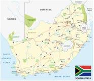Südafrika-Straßenvektorkarte mit Flagge stock abbildung