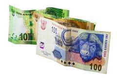 Südafrikanische Banknoten in den Bezeichnungen von 10, von 20 und von 100 Lizenzfreie Stockfotos