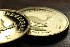 Südafrikanische Goldgoldmünzen Lizenzfreies Stockbild