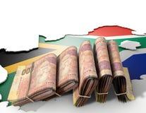Südafrikanische Karte und gefaltete Anmerkungen Stockbild