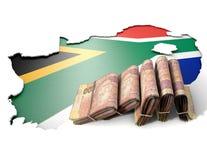 Südafrikanische Karte und gefaltete Anmerkungen Lizenzfreies Stockbild