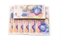 Südafrikanische Währung der Rand lokalisiert auf Weiß Stockbild