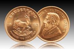 Südafrikanischer Krügerrand 1-Unzen-Goldgoldmünze-Steigungshintergrund lizenzfreie abbildung
