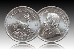 Südafrikanischer Krügerrand 1-Unzen-silberner Goldmünzesteigungshintergrund vektor abbildung