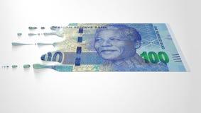 Südafrikanischer Rand Melting Dripping Banknote Stockfoto