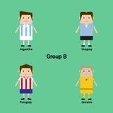 Südamerikanische Meisterschaft Gruppe B - Argentinien, Uruguay, Parag stock abbildung