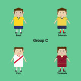 Südamerikanische Meisterschaft Gruppe C - Brasilien, Kolumbien, Peru, V stock abbildung