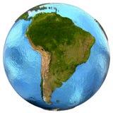 Südamerikanischer Kontinent auf Erde Lizenzfreie Stockfotos