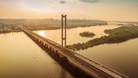Südbrückenvogelperspektive bei Sonnenuntergang Stockbild
