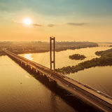 Südbrückenvogelperspektive bei Sonnenuntergang Stockfotos
