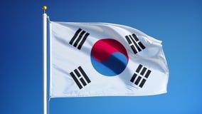 Südkorea-Flagge in der Zeitlupe schlang nahtlos sich mit Alpha stock footage