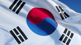 Südkorea-Flagge in der Zeitlupe schlang nahtlos sich mit Alpha stock video