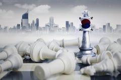 Südkorea-Flagge mit weißen Schachfiguren Lizenzfreie Stockbilder