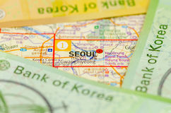 Südkorea gewann Banknote stockbild