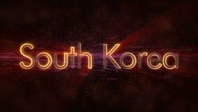Südkorea - glänzende Schleifungsländername-Textanimation stock video