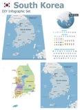 Südkorea-Karten mit Markierungen vektor abbildung