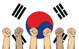 Südkorea-Protestkampf gegen eine Kriegsillustration mit Flagge als Hintergrund und vieler Hand lizenzfreie abbildung
