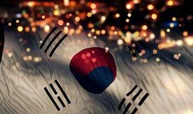 Südkorea-Staatsflagge-Licht-Nacht-Bokeh-Zusammenfassungs-Hintergrund Lizenzfreie Stockfotografie