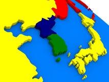 Südkoreanisches und Nordkorea auf bunter Kugel 3D Lizenzfreie Stockfotografie