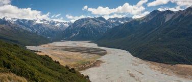 Südliche Alpen Panorama, Neuseeland Stockbild