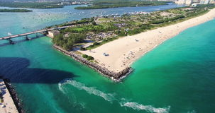 Südstrand, Miami Beach florida Haulover-Park Luftvideo stock video