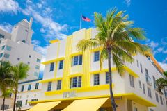 Südstrand, Miami Beach, Ozean-Antriebs-Straße, Architekturmonumente von Art Deco Hotels und Restaurants stockbilder