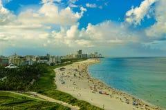 Südstrandansicht von der Luft, Miami Beach florida lizenzfreies stockbild
