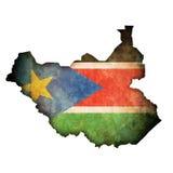 Südsudan-Markierungsfahne auf seiner Gegend Stockfoto