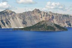 Südufer-Crater See und Zauberer-Insel Stockfotografie
