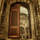 The Gate of Suleymaniye Mosque. Ottoman imperial mosque in Istanbul. Largest Mosque is sight of beautiful city. Door is open to sanctuary. This is house or Stock Photos