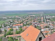 Sümeg panorama at the roof of the castle stock images