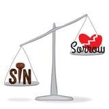 Sünde wiegt mehr Stockfotos