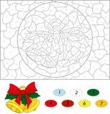 są święta dzwonów ilustracji wektora Kolor numerową edukacyjną grze dla dzieciaków Zdjęcie Royalty Free