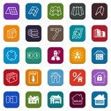 Są usytuowanym ikony ustawiać sprzedaż budynków materiały dach, fasada (,) Obraz Royalty Free