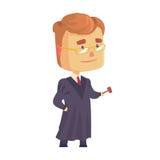 Sądzi mężczyzna charakteru w czerń kontuszu pozyci mienie sędziów młoteczka kreskówki wektoru ilustraci i Zdjęcia Stock