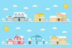 Sąsiedztwo z stwarza ognisko domowe i płatki śniegu ilustrujący na błękitnym tle Zdjęcia Royalty Free