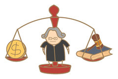 sędzia robi decyzi prawu i pieniądze Obrazy Royalty Free