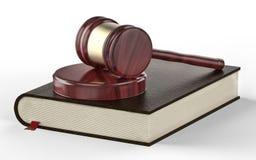 Sędziego młoteczek na prawo książki tle Zdjęcie Royalty Free