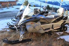 Słóżba Ratownicza Snowmobiles w Courchevel Fotografia Stock