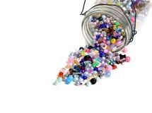 Słój koraliki dla rzemiosło biżuterii Zdjęcie Stock