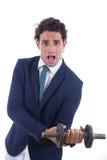 Słaby mężczyzna trzyma ciężar Fotografia Stock