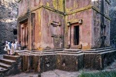 Sławna antyczna ortodoksyjna skała ciosający kościół lalibela Ethiopia Obraz Royalty Free