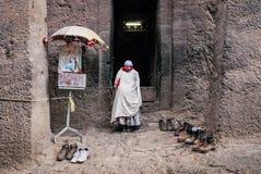 Sławna antyczna ortodoksyjna skała ciosający kościół lalibela Ethiopia Zdjęcie Stock