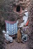 Sławna antyczna ortodoksyjna skała ciosający kościół lalibela Ethiopia Zdjęcie Royalty Free