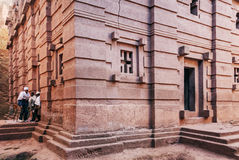 Sławna antyczna ortodoksyjna skała ciosający kościół lalibela Ethiopia Obrazy Royalty Free