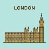 Sławna Londyńska Big Ben budynku ilustracja Obrazy Stock