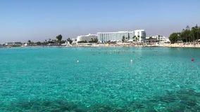 Sławna Nissi plaża blisko Ayia Napa w Cypr zbiory
