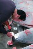 Sławna tuńczyk aukcja przy Tsukiji rybim rynkiem Fotografia Royalty Free