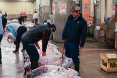 Sławna tuńczyk aukcja przy Tsukiji rybim rynkiem Obraz Royalty Free